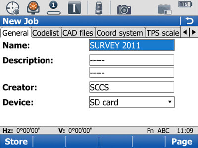 3. Name the job by site/date/code. Save the job to either the internal memory, an SD-Card or a CF-Card.